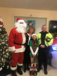Santa and Elf with Selectwoman Bettina and Police Chief Haughey
